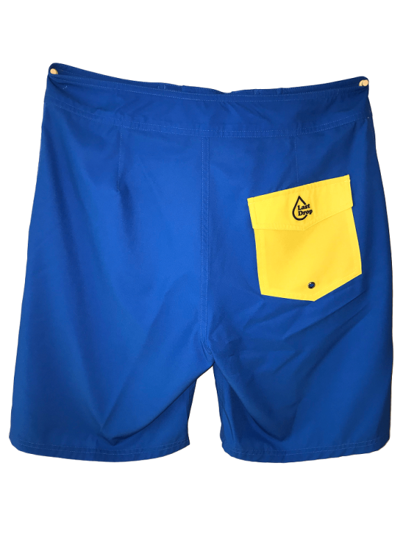 back of blue waterproof bathing suit with yellow pocket