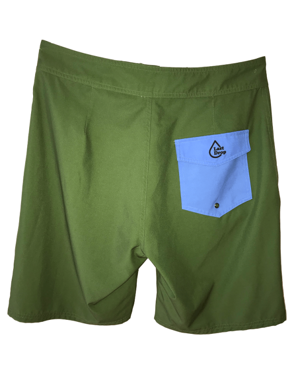 back of green waterproof bathing suit with blue pocket
